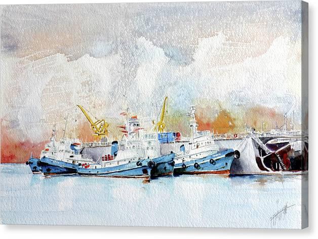 Sea Scape Canvas Print featuring the painting In Attesa Attorno Al Bacino by Giovanni Marco Sassu