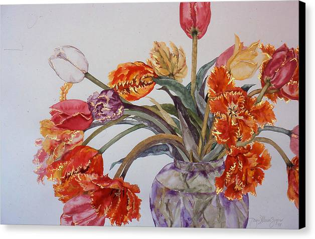 Watercolor Canvas Print featuring the painting Tulip Bouquet - 12 by Caron Sloan Zuger