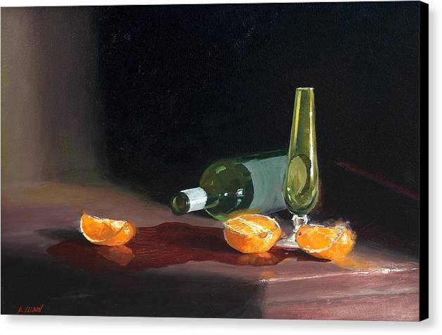 Still Life Canvas Print featuring the painting Wine And Oranges by Greg Clibon