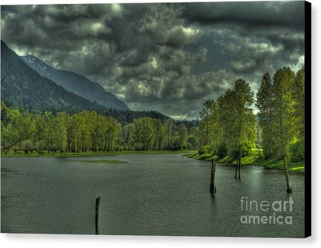 Spring Canvas Print featuring the photograph Spring Clouds At The Nicomen Slough by Rod Wiens