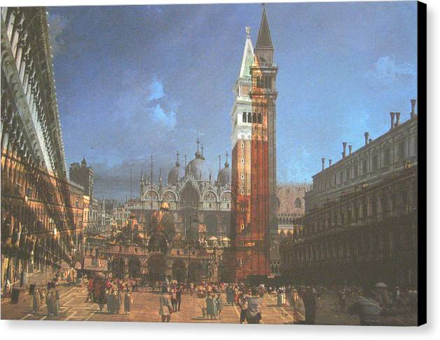 Landscape Canvas Print featuring the painting After St. Mark's Square by Hyper - Canaletto