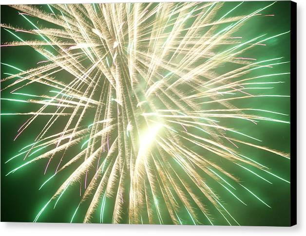 Fourth Of July Canvas Print featuring the pyrography Fireworks by Ronald Britton