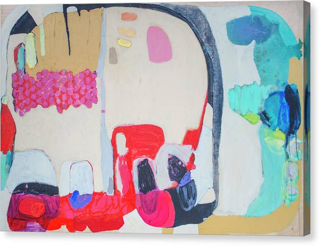 Abstract Canvas Print featuring the painting Fast Friends by Claire Desjardins