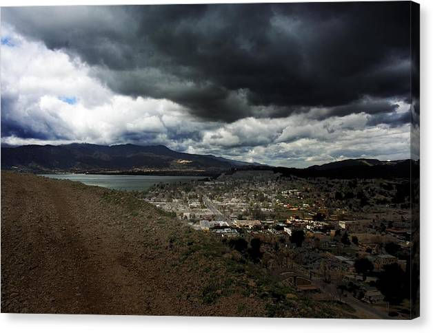 Landscape Canvas Print featuring the photograph Lake Elsinore Waiting by Richard Gordon
