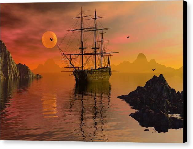 Bryce Canvas Print featuring the digital art Summer Anchorage by Claude McCoy