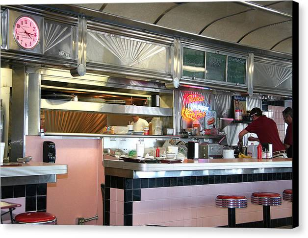 Canvas Print featuring the painting Haledon Diner by Randy Ford