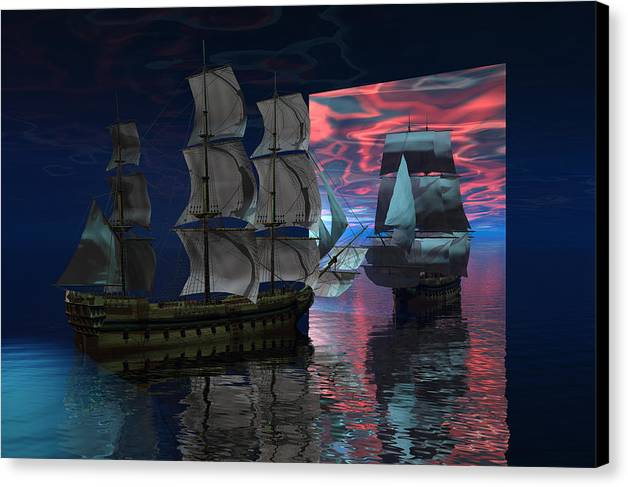 Bryce 3d Digital Fantasy Scifi Windjammer Sailing Canvas Print featuring the digital art Interdimensional Doorway by Claude McCoy