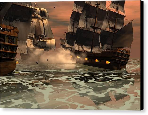 Bryce 3d Scifi Fantasy Battle tall Ship Sailing Windjammer sailing Ship Sailing Canvas Print featuring the digital art Tripoli Engagement by Claude McCoy