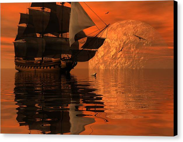 Bryce 3d Scifi Fantasy  Dolphin tall Ship Windjammer \sailing Ship\ Sailing Canvas Print featuring the digital art Unexplored Waters by Claude McCoy