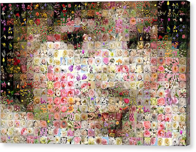 Mosaic Canvas Print featuring the digital art Love Me With Flowers by Gilberto Viciedo
