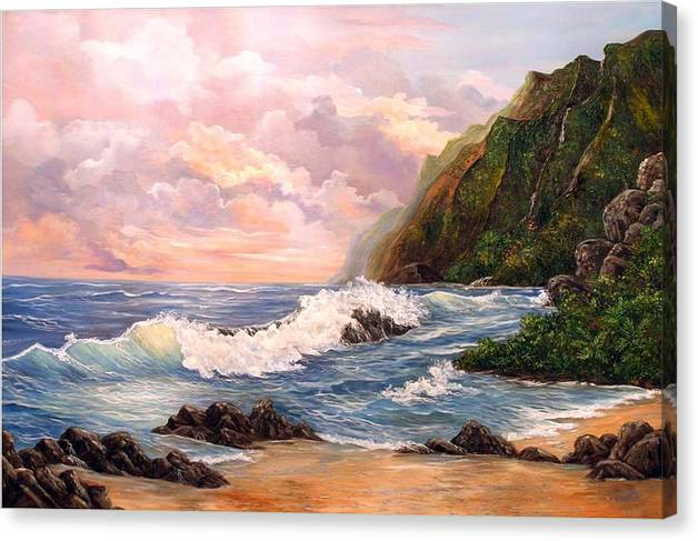 Painting Seascape Canvas Print featuring the painting Rapturous Seascape by Marveta Foutch