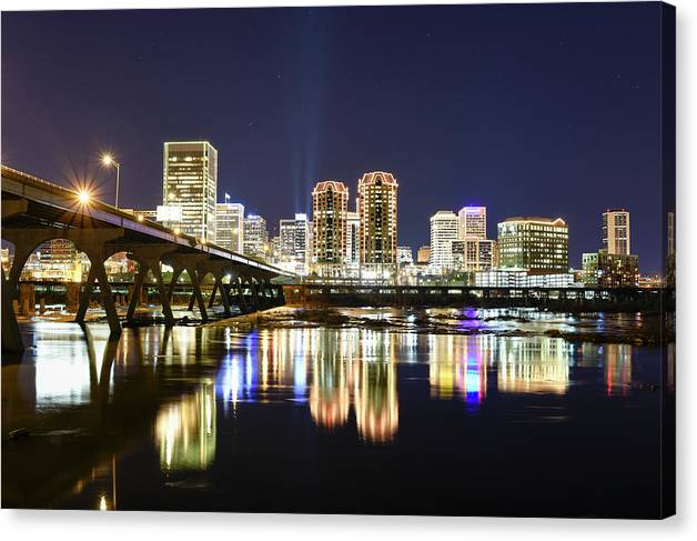 Richmond Canvas Print featuring the photograph Rva Night Lights by Doug Ash