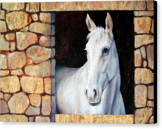 Horse Canvas Print featuring the painting White Horse1 by Farhan Abouassali