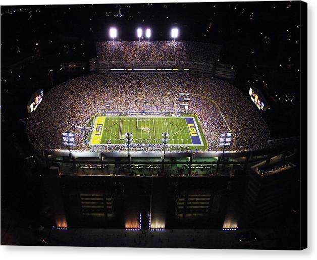 Louisiana State University Canvas Print featuring the photograph Lsu Aerial View Of Tiger Stadium by Louisiana State University