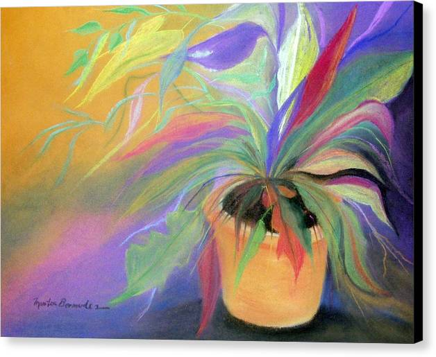 Flowers Canvas Print featuring the painting The Purple Bird by Maritza Bermudez