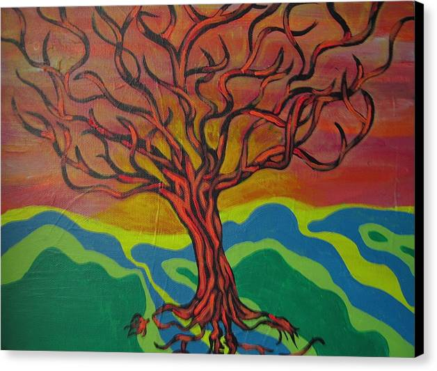 Tree Canvas Print featuring the painting Burning Tree by Rebecca Jankowitz