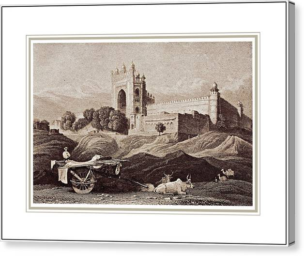 Futtepore Sikri - Agra Canvas Print featuring the painting Futtepore Sikri - Agra by Santi Arts