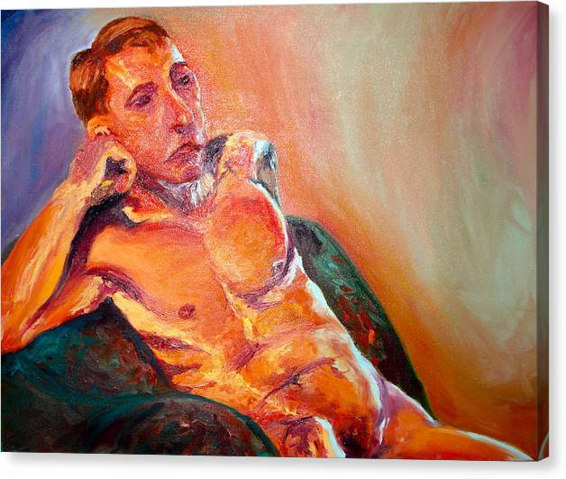 Nude Canvas Print featuring the painting Man Nude by Britta Loucas
