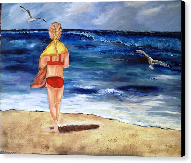 Children Canvas Print featuring the painting A Day At The Beach by Pamela Squires