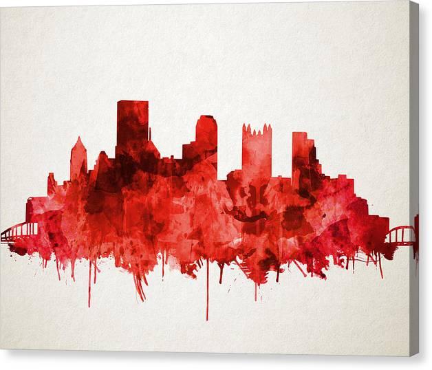Pittsburgh skyline watercolor red by Bekim Art