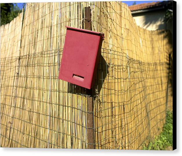 Postal Box Canvas Print featuring the photograph Mail Box On Bamboo Fence by Daniel Blatt