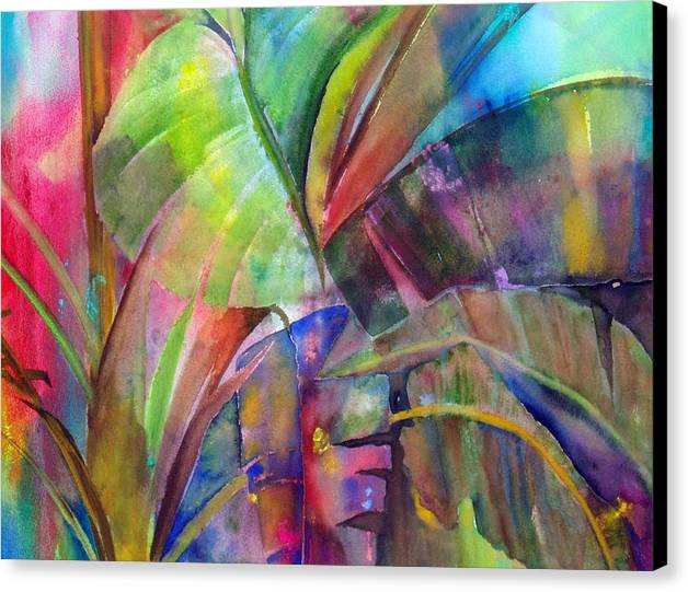 Tropical Tree/plant Canvas Print featuring the painting Banana Leaves IIi by Maritza Bermudez