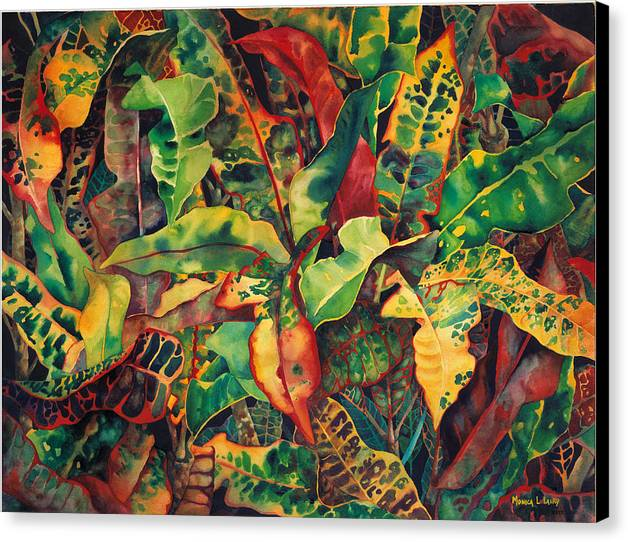 Foliage Canvas Print featuring the painting Crotones by Monica Linville