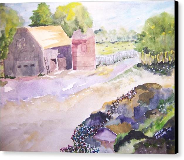 Barn Canvas Print featuring the painting Old Barn And Silo by Jacqueline Coote