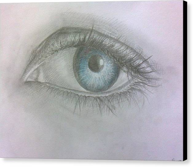 Eye Canvas Print featuring the drawing EYE by Souzan