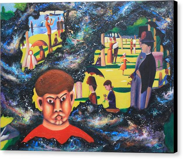 Quantum Canvas Print featuring the painting Quantum Quasimodo by Art Enrico