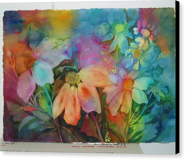 Flowers Canvas Print featuring the painting Daisies by Maritza Bermudez
