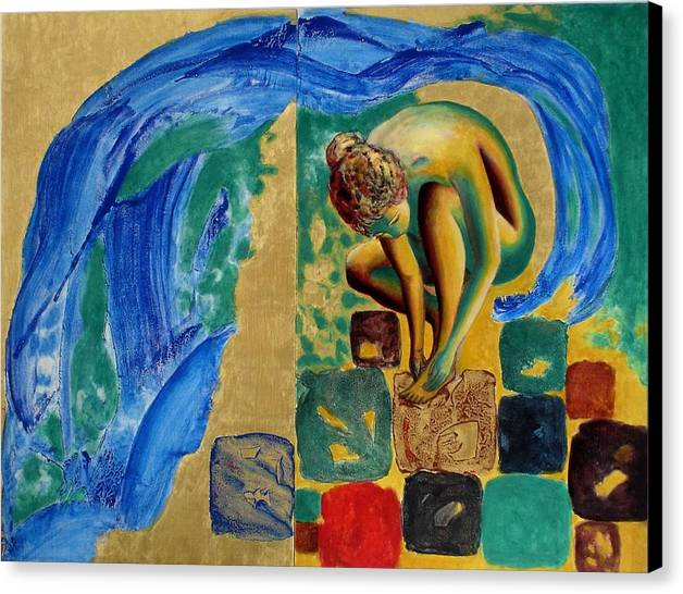 Nude Canvas Print featuring the painting Delightful Discoveries by Michael Price