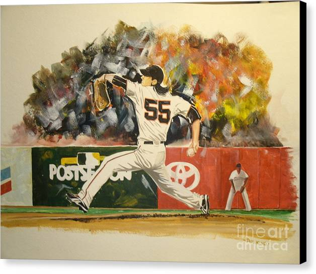 Sports Canvas Print featuring the painting Freaky Tim Lincecum by Phil King