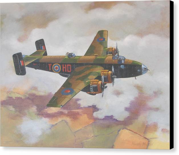 Aviation Art Canvas Print featuring the painting Handley Page Halifax by Murray McLeod