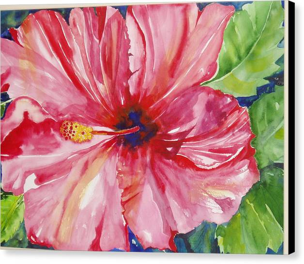 Flower Canvas Print featuring the painting Hibiscus by Maritza Bermudez