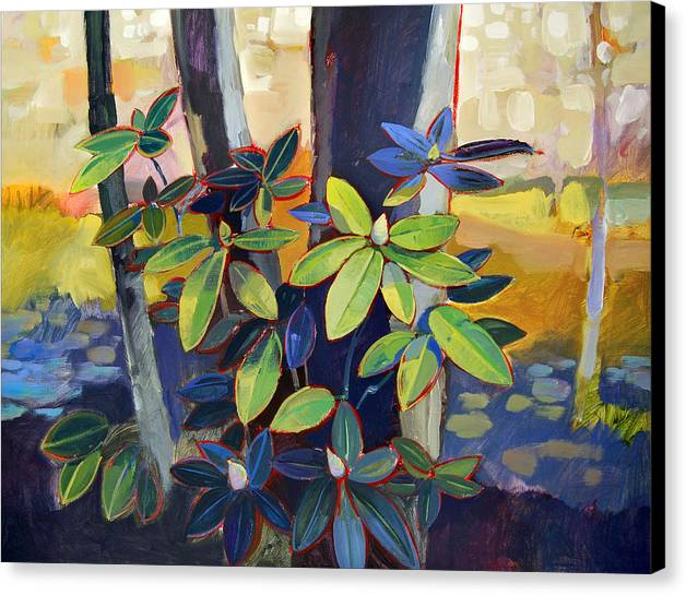 Landscape Canvas Print featuring the painting My Back Yard by Farhan Abouassali