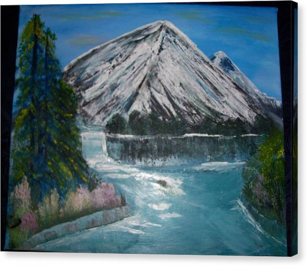 Landscape Canvas Print featuring the painting Crystal Clear Water by Teresa Nash