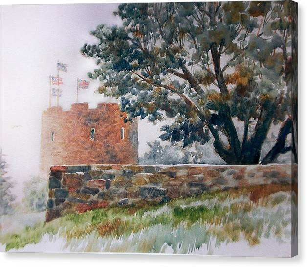 Painting;fog;landscape;maine;tree;stone Wall;flags;fortress; Canvas Print featuring the painting Foggy Morning In Maine by Don Getz