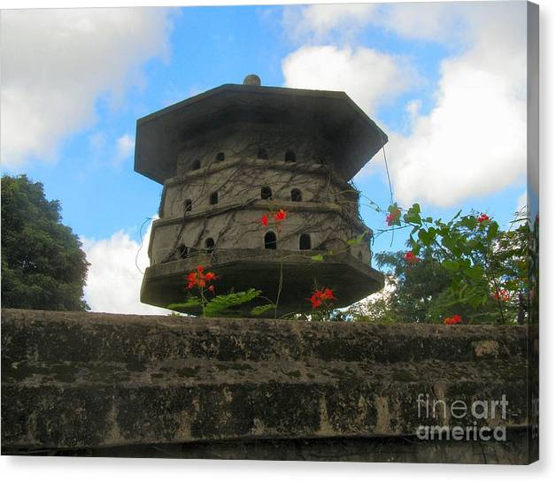Door Canvas Print featuring the photograph Old Stone Chinese Bird House by Kathy Daxon