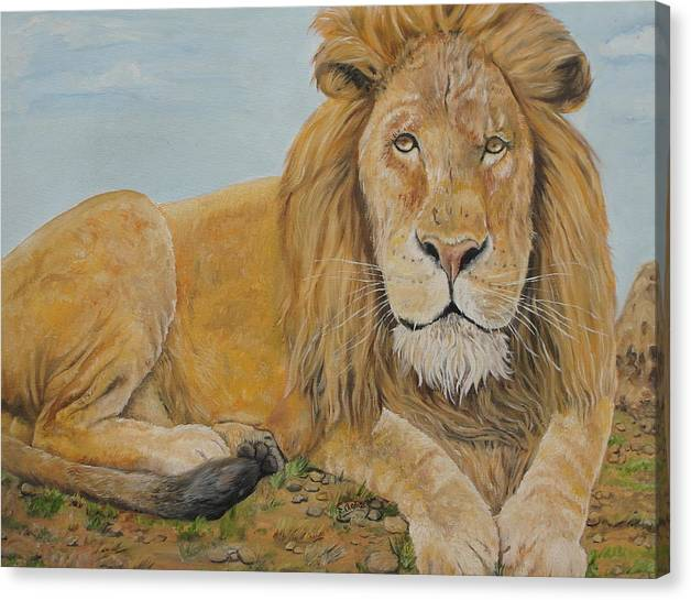 Lion Canvas Print featuring the painting The Lion by Rajesh Chopra