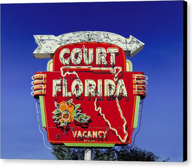 Neon Canvas Print featuring the painting Court Florida by Randy Ford