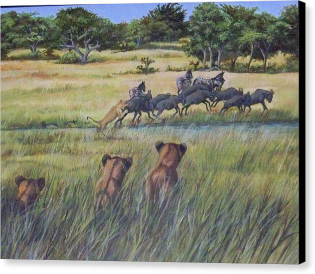 Africa Canvas Print featuring the painting How Its Done by Audrie Sumner