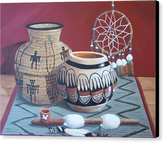 Native American Infuenced Canvas Print featuring the painting Native Artifacts by Audrie Sumner