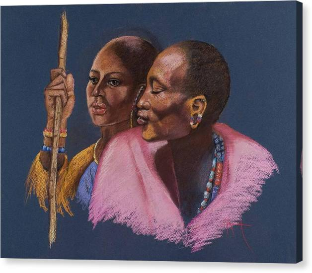 An African Man And Woman Sheperd Their Cattle Africa Massai African Man African Woman Shepards Pink And Gold Colors Realistic Beautiful African Massai  Pam Mccabe Pamela Mccabe Pastel Painting Pasteling Blue Background Canvas Print featuring the painting The Sheperds by Pamela Mccabe