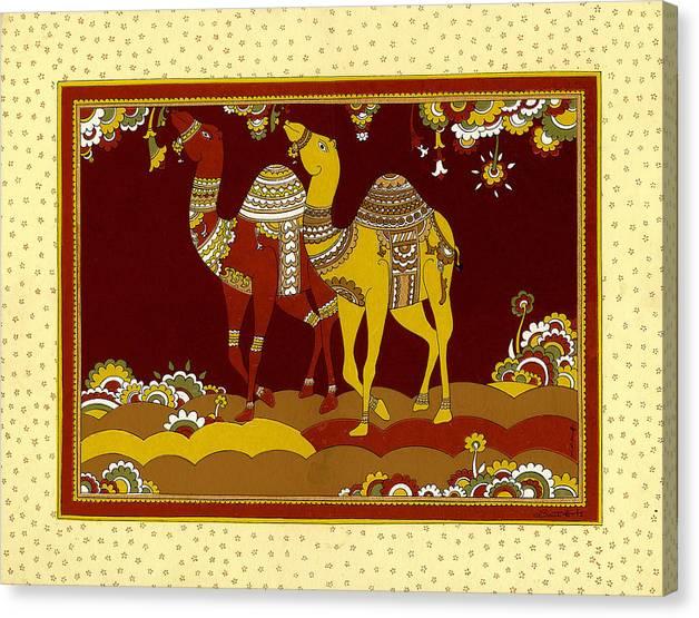 Dancing Desert-ships Canvas Print featuring the painting Dancing Desert Ships by Santi Arts