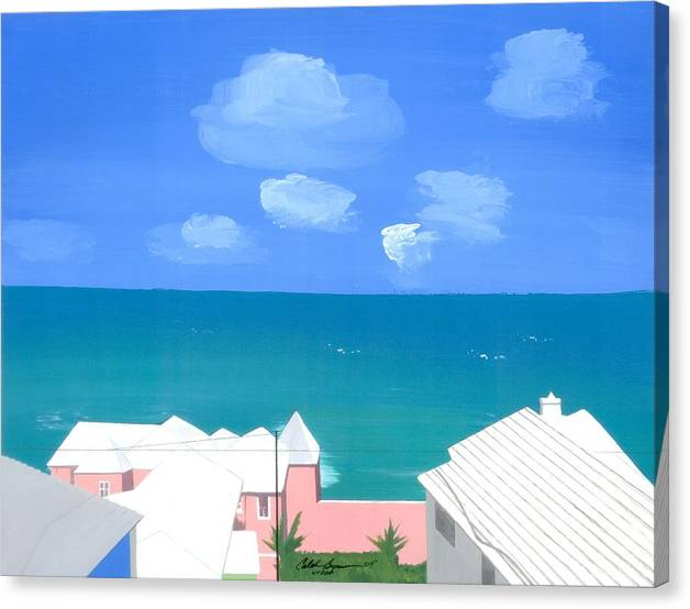 Seascapes Canvas Print featuring the painting O Conners Morning View by Caleb Bynum