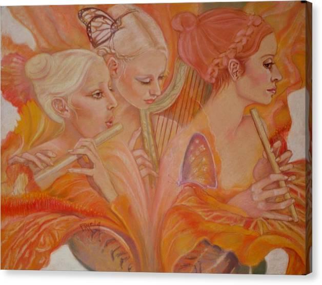 Fairies Canvas Print featuring the pastel Raphsody On An Iris by Pamela Mccabe