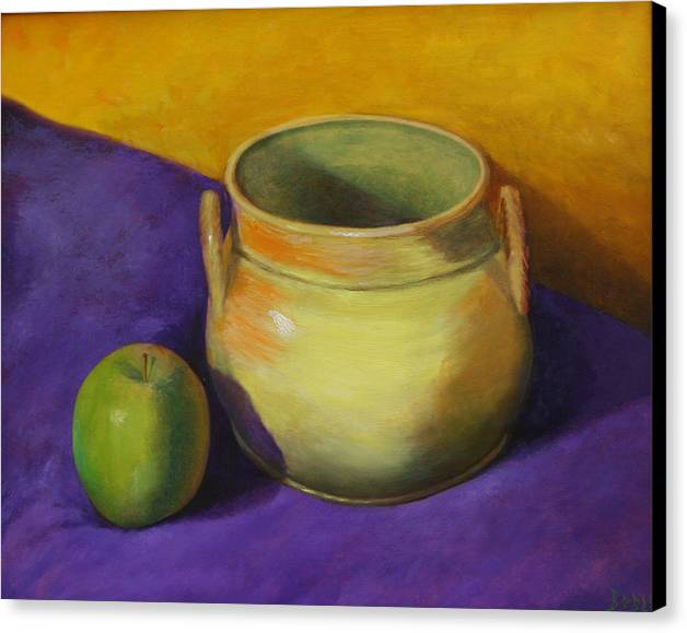 Still Life Canvas Print featuring the painting Granny Smith And The Yellow Pot by RF Hauver