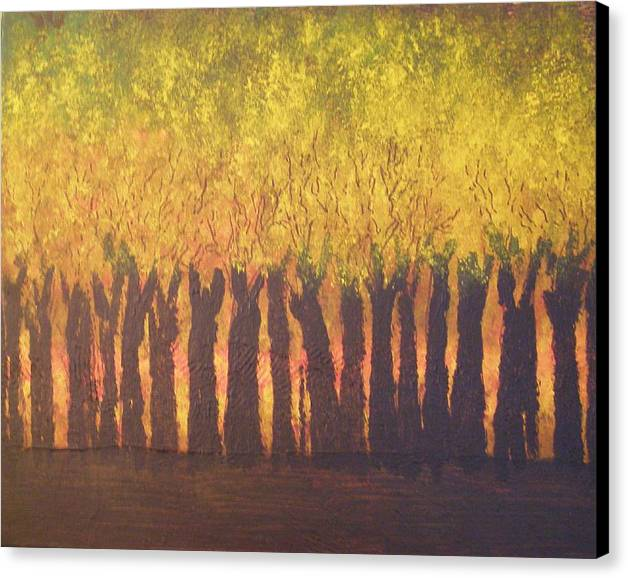 Abstract Expressionism Canvas Print featuring the painting October Trees At Sunset by Don Phillips