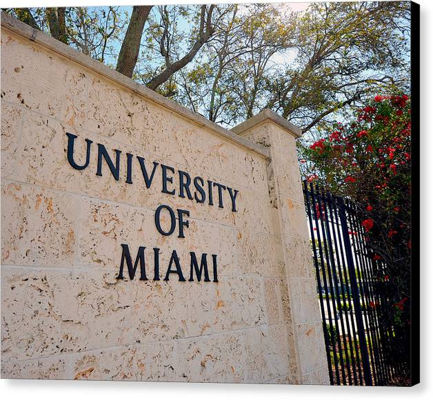 Miami Canvas Print featuring the photograph Miami Campus Sign In Spring by Replay Photos